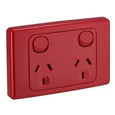 Clipsal 2025Rd Gpo Socket Swt Twin 10A 250V Red