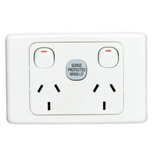Clipsal 2025Sf 2000 Series Double Switch Socket Outlet 250V 10Amp 1Pole Surge Protected White