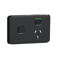 Clipsal Iconic Series Cover Frame - 2 Switches & 1 Socket - 10 A - Horizontal - Iconic Black - 3015XC-XB