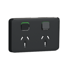 Clipsal Iconic Series Cover Frame - 2 Switches & 1 Sockets - 10 A - Horizontal - Iconic Black - 3025C-XB