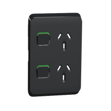 Clipsal Iconic Series Cover Frame - 2 Switches & 1 Sockets - 10 A - Vertical  - Iconic Black - 3025VC-XB