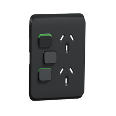 Clipsal Iconic Series Cover Frame - 3 Switches & 1 Sockets - 10 A - Vertical  - Iconic Black - 3025VXC-XB