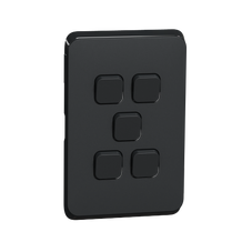 Clipsal Iconic Series Cover Frame - 5 Switches - Iconic Black - 3045C-XB