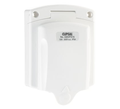 Clipsal Socket Inlet 3 Pin 15Amp 250V Ip34 With Weatherproof Flap White - 435VFS15