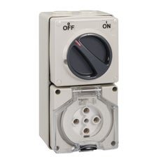 Clipsal - 56 Series 56 Series Switched Socket Outlet - 50A - 5 Pin - 3 Pole Switch - 500V - Grey - 56C550-GY