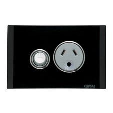 Clipsal Saturn Series Single Lighting Powerpoint 10Amp Horizontal Switch Socket Outlet Espresso Black - 4015L-EB