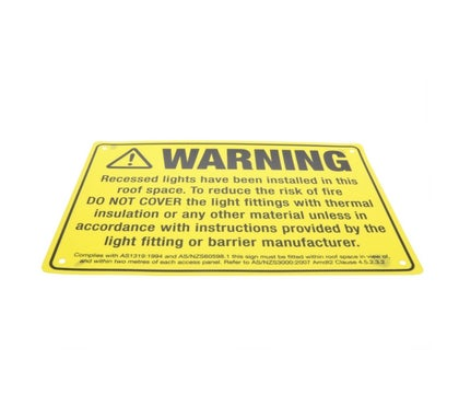 Warning Sign For Recessed Lights 5 Pack