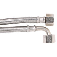 Flexible Water Hose with Elbow PEX Core F&F 450mm