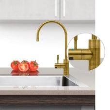 Puretec DFU285 Brushed Gold Designer Water Filter Faucet With LED Reminder Light
