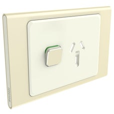 Clipsal Iconic S3015C-Ce Cover Frame, 1 Switch & 1 Socket, 10 A, Hori, Crowne