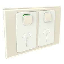 Clipsal Iconic S3025C-Ce Cover Frame, 2 Switches & 2 Sockets, 10 A, Hori, Crowne
