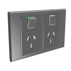 Clipsal Iconic S3025C-Sh Cover Frame, 2 Switches & 2 Sockets, 10 A, Hori, Silver Shadow