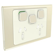 Clipsal Iconic S3025Xc-Ce Cover Frame, 3 Switches & 2 Sockets, 10 A, Hori, Crowne