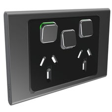 Clipsal Iconic S3025Xc-Sh Cover Frame, 3 Switches & 2 Sockets, 10 A, Hori, Silver Shadow