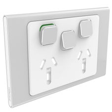 Clipsal Iconic S3025Xc-Sv Cover Frame, 3 Switches & 2 Sockets, 10 A, Hori, Silver