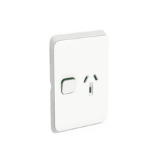 Clipsal Iconic 3015V-Vw Switched Socket - Vertical - 10 A - Vivid White
