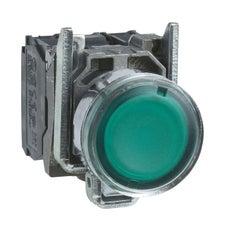 Clipsal Harmony XB4 Illuminated Push Button, Metal, Flush, Green, Ø22, Spring Return, 1 No + 1 Nc 24 V Ac/Dc - XB4BW33B5
